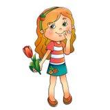 Härlig flicka med en tulpan i hand på vit Arkivbild