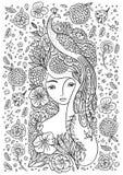 Härlig flicka med fågeln och blommor Arkivfoton