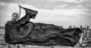 Härlig flicka med flyghår i klänning på naturen royaltyfri foto