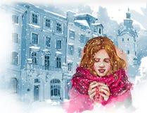 Härlig flicka med koppen av varmt kaffe eller te Oldcity bakgrund för flygillustration för näbb dekorativ bild dess paper stycksv Royaltyfri Foto