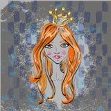 Härlig flicka med kronan. Arkivbilder