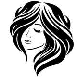Härlig flicka med långt hår och det stängda ögat vektor illustrationer