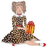 härlig flicka med lockigt hår i festlig klänning med en gåva Vektor Illustrationer