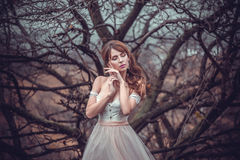 Härlig flicka med makeup och att utforma royaltyfria bilder