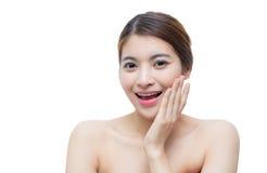 Härlig flicka med makeup-, ungdom- och hudomsorgbegrepp Royaltyfri Foto