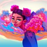 Härlig flicka med moln och rosor i håret royaltyfri bild