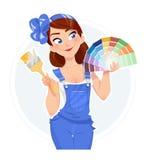 Härlig flicka med provkartor för målarfärgborste och färg vektor illustrationer