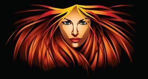Härlig flicka med rött hår för brand Royaltyfri Bild
