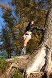 härlig flicka nära tree Fotografering för Bildbyråer