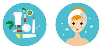 Härlig flicka och uppsättning av isolerade kosmetiska produkter royaltyfri bild