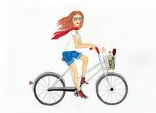 Härlig flicka på en vit cykel illustration Arkivbilder