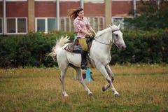 Härlig flicka på hästen Arkivfoton