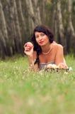 Härlig flicka på naturen Royaltyfria Foton