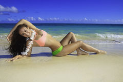 Härlig flicka på stranden arkivfoto