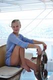 Härlig flicka på yachten Royaltyfria Foton