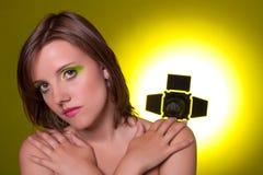 härlig flicka skjuten studio Fotografering för Bildbyråer