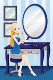 Härlig flicka som applicerar makeup royaltyfri illustrationer
