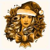 Härlig flicka som bär Santa Claus kläder på vit bakgrund illustration royaltyfri illustrationer