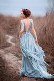 Härlig flicka som går i natur arkivbild