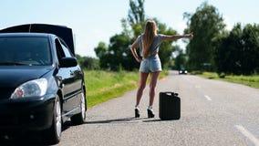 Härlig flicka som liftar på lantlig vägbaksidasikt arkivfilmer