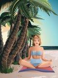 Härlig flicka som mediterar på strandsommaren Royaltyfria Bilder