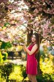 Härlig flicka som poserar till fotografen mot bakgrunden av blommande rosa träd Vår Sakura Royaltyfri Bild