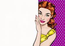 Härlig flicka som ser från det tomma brädet i stil för popkonst Flicka för popkonst Etikett för tetidtappning vektor för illustra Arkivfoto