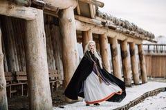 Härlig flicka viking Arkivbild