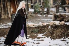Härlig flicka viking Arkivfoto