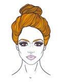 Härlig flickaframsida med bästa fnurenhårstil, smink och frilägeuttryck Hand dragen stiliserad kvinnastående Royaltyfri Fotografi