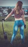 härlig flickagitarr fotografering för bildbyråer