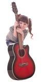 härlig flickagitarr little Royaltyfri Fotografi