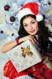 härlig flickahatt santa Arkivbild