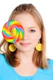 härlig flickalollypop fotografering för bildbyråer