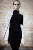 Härlig flickamodell i svart med rökigt posera för ögon Fotografering för Bildbyråer