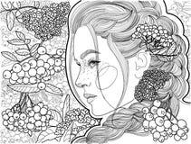 Härlig flickaprofil bland en grupp av rönnen royaltyfri illustrationer