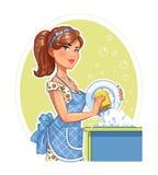 Härlig flickatvagningplatta royaltyfri illustrationer