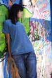 härlig flickavägg fotografering för bildbyråer