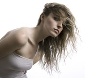 härlig flickawhite för bakgrund Royaltyfri Bild