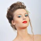 härlig flickawhite för bakgrund Royaltyfri Foto