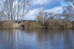 Härlig flod i vinter Arkivfoto