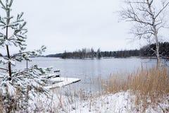 Härlig flod Kymijoki i vinter Kouvola Finland fotografering för bildbyråer