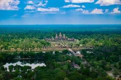 Härlig flyg- sikt av Angkor Wat Temple Royaltyfri Foto