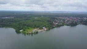Härlig flyg- sikt av den azura sjön som omges av den frodiga gröna skogen för skog på banken av en sjö, bästa sikt, antenn stock video