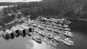 Härlig flyg- sikt av Genoa Bay i British Columbia, Kanada Arkivbilder