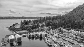 Härlig flyg- sikt av Genoa Bay i British Columbia, Kanada Royaltyfria Foton