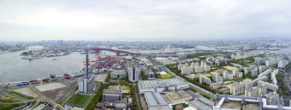 Härlig flyg- sikt av Osaka portcityscape Royaltyfria Foton