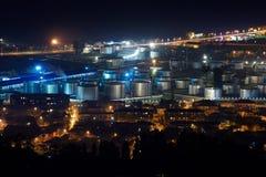 Härlig flyg- sikt av stads- Cityscape på natten Batumi Georgia Arkivbild