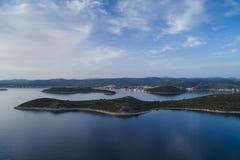 Härlig flygbild av Rogoznica Dalmatia, Kroatien arkivbild