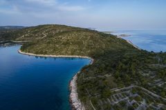 Härlig flygbild av Rogoznica Dalmatia, Kroatien royaltyfri foto